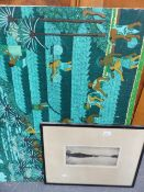 A BALINESE PAINTING TOGETHER WITH A SMALL ETCHING, SIGNED INDISTINCTLY.