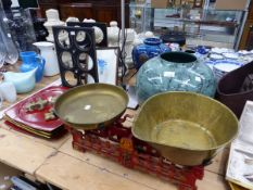 CAST IRON AND BRASS KITCHEN SCALES, MAGAZINE STORAGE BAG, A STANDARD LAMP, LACQUERED PLATES, WINE