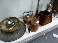 A GROUP OF METAL WARES, INCLUDING AN ART DECO STYLE THREE PIECE COFFEE SET, AN ARTS AND CRAFTS