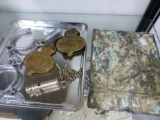 A COUNTY COPPER FIRE MARK, A POLICE WHISTLE, HANDCUFFS AND TWO GEORGE VI BRASS MOUNTS.