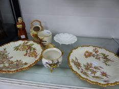 A QUANTITY OF ROYAL WORCESTER TO INCLUDE CANDLE SNUFFER, A PAIR OF BLUSH IVORY PLATES, TWO SMALL
