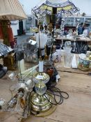 THREE VARIOUS TABLE LAMPS, A PAIR OF MIRROR BACK WALL SCONCES, AND A GLASS TERRARIUM.
