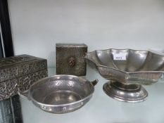 TWO ENGLISH PEWTER BOWLS AND TWO BOXES.