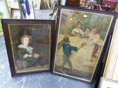 TWO VINTAGE PEARS TYPE PRINTS, MOUNTED IN OAK FRAMES. LARGEST 94 x 57cms (2).