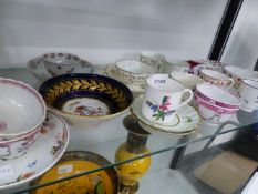 A QUANTITY OF EARLY ENGLISH CABINET CUPS AND SAUCERS.