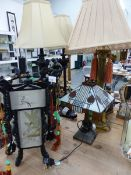 A PAIR OF TABLE LAMPS, A LARGE BRASS TABLE LAMP, SMALL ART DECO STYLE LAMP, AND AN ORIENTAL LANTERN.