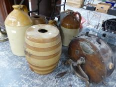 A LARGE TWO TONE FLAGON INSCRIBED CITY BREWERY COMPANY LICHFIELD LTD, TWO POTTERY BARRELS, A PLAIN