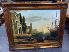 A LARGE GILT FRAMED DECORATIVE PICTURE OF A CLASSICAL PORT SCENE. OVERALL 104 x 128cms.