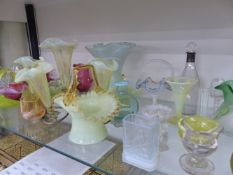 A COLLECTION OF VICTORIAN AND LATER COLOURED GLASS WARES ETC.