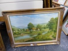 A DECORATIVE PICTURE OF A RURAL VILLAGE BY A RIVER, SIGNED GARY MILLER. 51 x 76cms.
