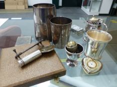 A SMALL COLLECTION OF SILVER PLATED WARES.