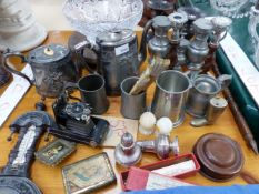 A SMALL WALL BAROMETER, VARIOUS PEWTER AND PLATED WARES, CUT GLASS BOWL, ETC.