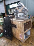 A DOG KENNEL, FOLDING DOG CAGE AND A BIRD HOUSE.
