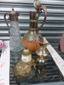 A VICTORIAN POTTERY AND SILVER PLATE MOUNTED EWER, SILVER PLATE AND GLASS CLARET JUG, AN INKWELL AND