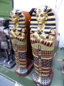 A PAIR OF MUMMY SARCOPHAGUS FORM CABINETS, 125cm HIGH.