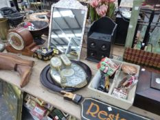 A DECORATIVE VINTAGE MOTHER OF PEARL DRESSING TABLE MIRROR, A VINTAGE WOODEN BOOT STRETCHER, AN