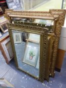 THREE VINTAGE GILT FRAMED MIRRORS, TWO WITH BEVEL PLATES, LARGEST 105 x 80cms.