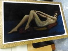 A VINTAGE PAINTING ON VELVET OF A RECLINING NUDE, SIGNED INDISTINCTLY. 47 x 80cms.