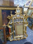 A GILT MIRROR OF CHIPPENDALE STYLE. 135 x 78cms.