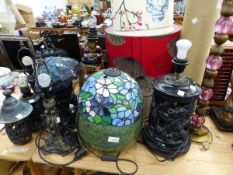 TWO TIFFANY STYLE TABLE LAMPS, A PAIR OF ORIENTAL STYLE LAMPS AND VARIOUS OTHERS.
