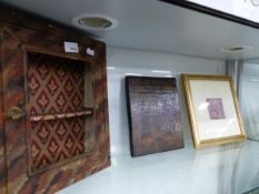 A PAINTED METAL SMALL DISPLAY CABINET, AN ICON, AND A GILT FRAMED PRINT.