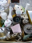 A BOX OF MONEY BOXES AND ORNAMENTS.