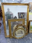 A LARGE SWEPT GILT FRAME BEVEL EDGE MIRROR. 138 x 105cms. TOGETHER WITH THREE OTHERS OF DIFFERENT