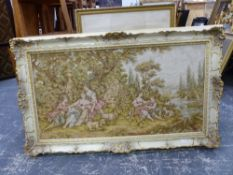 A TAPESTRY PANEL OF 18th.C. STYLE FIGURES MOUNTED IN A SWEPT FRAME. OVERALL 92 x 152cms.