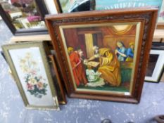 A COLLECTION OF ANTIQUE AND LATER DECORATIVE PICTURES, INCLUDING PORTRAITS, COACHING SCENES, A BRASS