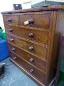 A VICTORIAN MAHOGANY LARGE CHEST OF TWO SHORT, FOUR LONG GRADUATED DRAWERS