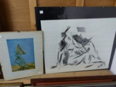 TWO UNFRAMED 20th.C. WORKS, ONE SIGNED E.A.J. DUFFY, LARGEST 42 X 54cms.