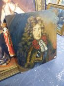 A DECORATIVE PORTRAIT OF A GENTLEMAN IN 17th.C. DRESS, OIL ON CANVAS BOARD, UNFRAMED. 76 x 63cms.