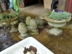 THREE MATCHING COMPOSITE GATE POST FINIALS TOGETHER WITH THREE COMPOSITE GARDEN URNS.
