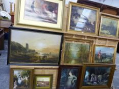 A GROUP OF FURNISHING PICTURES AFTER 18th/19th.C. LANDSCAPES. HUNT SCENES AND PORTRAITS, SIZES