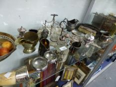 AN ART DECO SILVER PLATED TOAST RACK, OTHER PLATED WARES, SIX IVORY SNOOKER BALLS ETC.