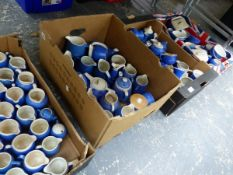 A LARGE COLLECTION OF TORQUAY WARE BLUE AND WHITE CERAMICS.