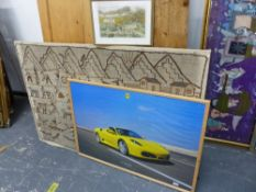 A LARGE FRAMED PHOTOGRAPH OF A FERRARI 430 SPIDER. TOGETHER WITH AN ETHNIC TEXTILE PANEL, OF RURAL