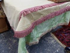 A COLLECTION OF SEVEN FRINGED TABLECLOTHS, LARGEST 360 x 150cm, SMALLEST 230 x 150cm.