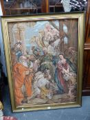 A TAPESTRY PANEL OF THE NATIVITY AFTER RUBENS, 142 x 110cms.