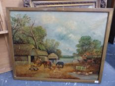 19th.C.ENGLISH NAIVE SCHOOL. THE FARMYARD, SIGNED INDISTINCTLY, OIL ON CANVAS. 72 91cms.