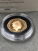 A WITHDRAWAL FROM THE EUROPEAN UNION, 2020 UK 50p GOLD PROOF COIN. 22ct GOLD (916.7AU), DIAMETER