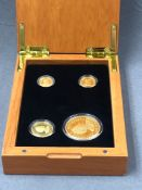 THE PERTH MINT AUSTRALIA, SET OF FOUR 24ct 9999 GOLD PROOF AUSTRALIAN NUGGET COINS TO INCLUDE 100