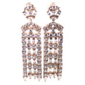 A PAIR OF SILVER AND ROSE GOLD GILT ARTICULATED CHANDELIER MULTI DROP EARRINGS. WEIGHT 25.3grms.