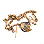AN ANTIQUE 9ct YELLOW GOLD GRADUATED DOUBLE WATCH ALBERT WITH ATTACHED T-BAR, AND SUSPENDED GOLD