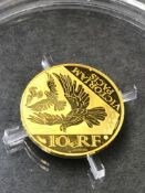 A SMALL FINE GOLD PROOF 10 EURO COIN DATED 2020. 3.11grms