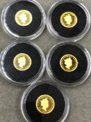 A GROUP OF FIVE 24ct GOLD PROOF £5 COINS, EACH WEIGHING 0.5grms, TO INCLUDE A 2019 QUEEN