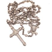 A SOLID SILVER AND CUBIC ZIRCONIA SET,SKULL AND CROSS,DESIGNER ROSARY TYPE NECKLACE. NECKLACE LENGTH