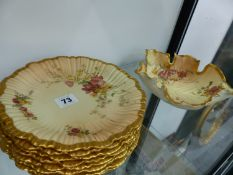 A SET OF EIGHT ROYAL WORCESTER BLUSH IVORY FLORAL PAINTED SIDE PLATES AND A SIMILAR BOWL.