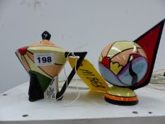A LIONEL BAILEY TWO PART ART DECO STYLE VASE AND TEAPOT.