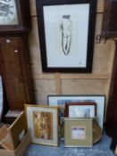 A FRAMED PRINT AFTER LOWRY TOGETHER WITH VARIOUS PRINTS BY DIFFERENT HANDS AND TWO WATERCOLOURS BY